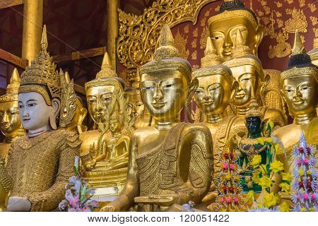 Golden Buddha Inside Temple In Mandalay Myanmar