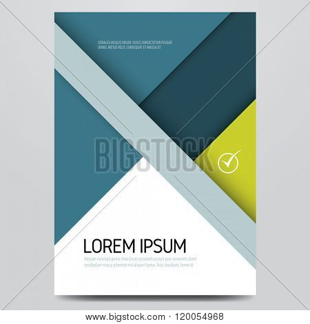 Brochure, annual report, book, magazine cover, poster, flyer vector template. Material design inspired corporate layout.