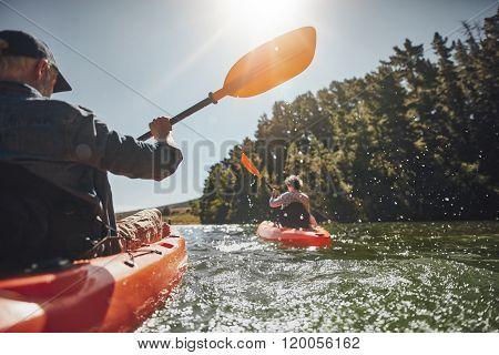 Senior Couple Kayaking In A Lake