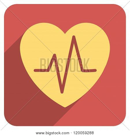 Heart Ekg Flat Rounded Square Icon with Long Shadow