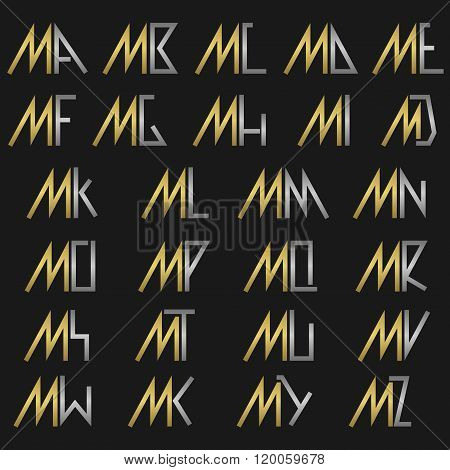 Letter M with alphabet