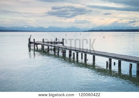 An image of a nice wooden jetty at Starnberg lake
