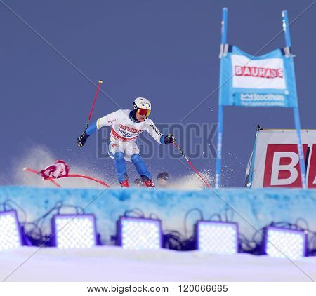 Mattias Hargin Skiing At A Slalom Event