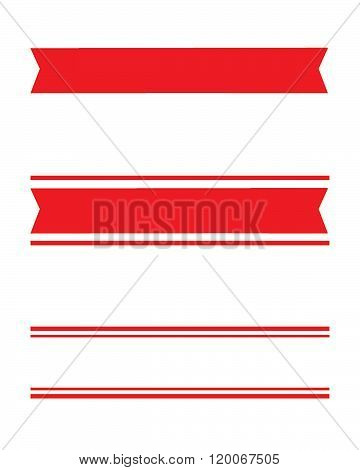 Vector Red Banner, Ribbon and Headliner Set