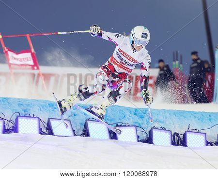 Skier Carmen Thalmann Jumping At A Slalom Event