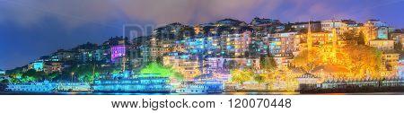 Panorama of Istanbul and Bosporus at night