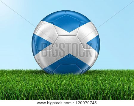 Soccer football with Scottish flag. Image with clipping path
