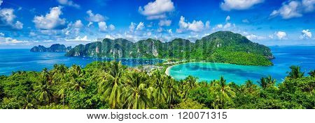Panorama of tropical islands Phi Phi Don and Phi Phi Leh in sea. Crabi, Thailand