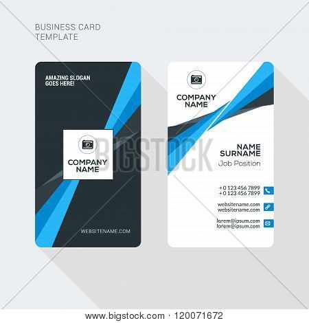 Modern Creative And Clean Two Sided Business Card Template. Flat Style Vector Illustration. Vertical