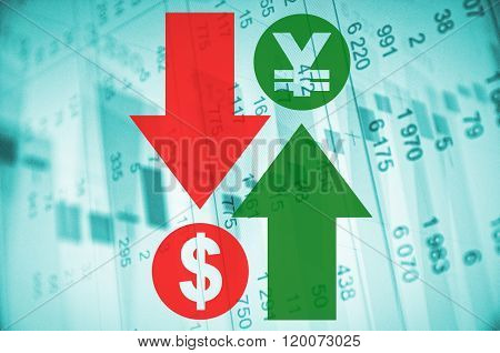 Financial concept. Trading software window on PC screen, close-up. Arrows indicated, foreign exchange market activity.