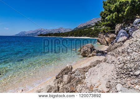 Beautiful Remote Rocky Seashore Between Baska Voda And Brela - Makarska Dalmatia Croatia poster