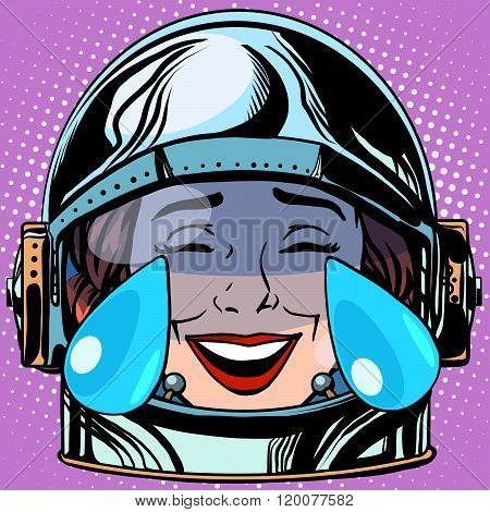 emoticon tears of joy Emoji face woman astronaut retro pop art retro style. Emotions face. Vector emoticon poster