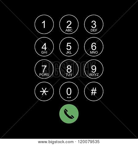 Vector Flat Keypad For Phone