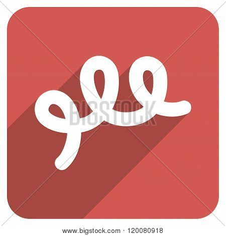 Spiral Bacillus Flat Rounded Square Icon with Long Shadow