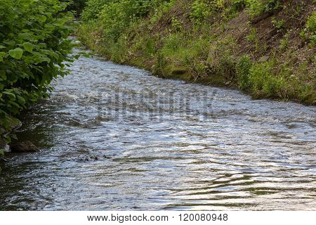 rapid stream of the river in a ravine poster