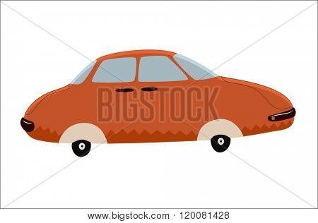 A vector illustration of the red toy car. A part of Dodo collection - a set of educational cards for children.
