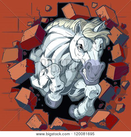 White Horse Mascot Crashing Through Wall Vector Illustration