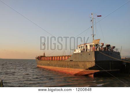 Trawler At Dusk