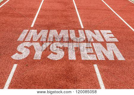 Immune System written on running track
