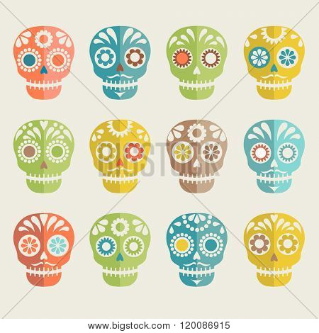 colorful patterned skull set, Mexican day of the dead