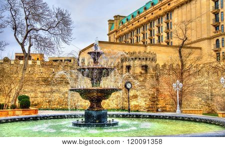 Fountain in Philarmonic gardens of Baku