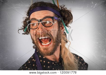 Bearded Crazy Person Lunatic