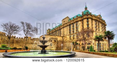 Fountain in Philarmonic gardens of Baku