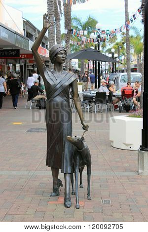 Napier, NZ - March 6, 2015: 'A Wave in Time' bronze sculpture located on Emerson Street.