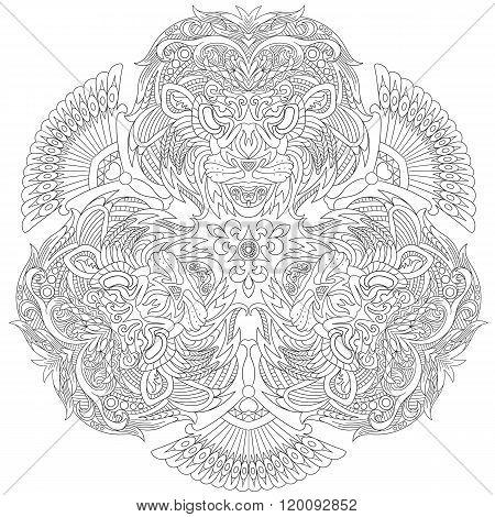 Zentangle Stylized Face Of Lion. Set Of Three Balanced Lion Masks.