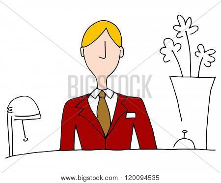 An image of a hotel front desk manager.