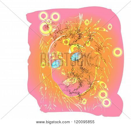 Bright spring motive woman graphic face