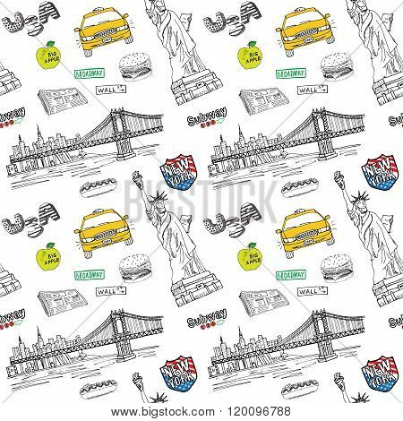 New York City Seamless Pattern With Hand Drawn Sketch Taxi, Hotdog, Burger, Statue Of Liberty, Newsp