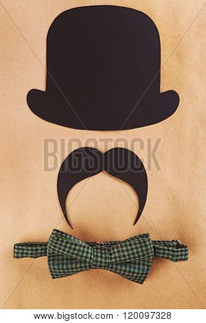 Photo booth props bowler, mustache and bow tie