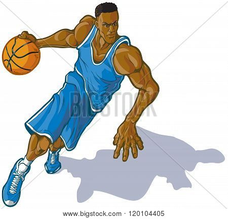 Male Basketball Player Dribbling Ball Vector Illustration