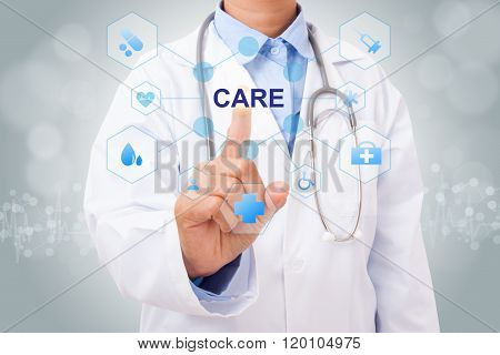 Doctor hand touching HEALTHCARE sign on virtual screen. medical concept
