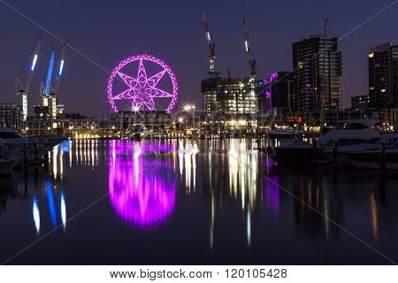 Observation Wheel In Docklands Melbourne At Night