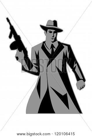 Icon illustration of a man holding a tom gun