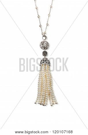 Pearl and diamond tassle necklace isolated on white