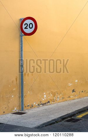 20 Km Or Miles Per Hour Speed Limit Sign