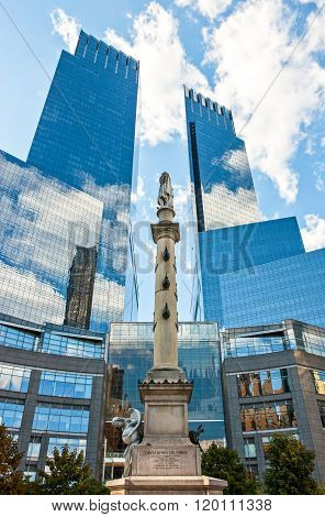 New York, U.S.A. - October 7, 2010: Manhattan, upward view of the Trump towers and Columbus monument in Columbus Circle