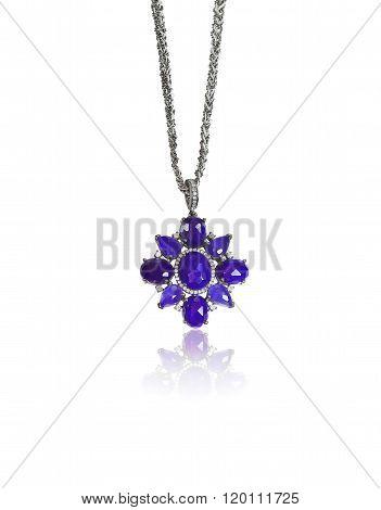 Beautiful Lapis Lazuli blue diamond accented necklace.