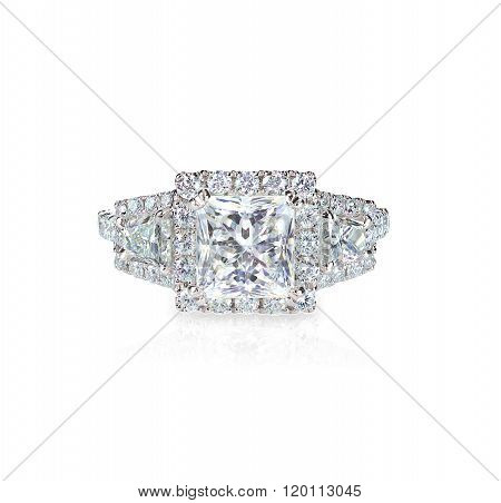 Princess cut Diamond solitaire engagement wedding ring isolated on white