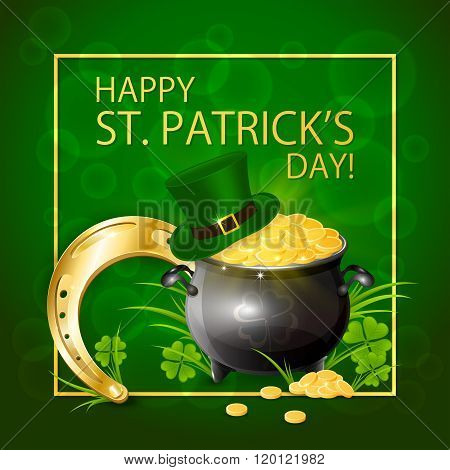 Horseshoe With Gold And Leprechaun Hat On Green Background