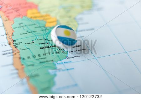 Pin Pointing Argentina On Map Of South America