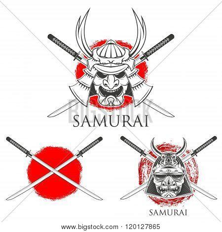 Samurai Mask. Vector Design Elements