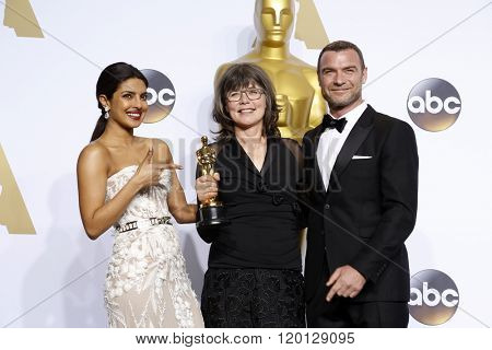LOS ANGELES - FEB 28:  Priyanka Chopra, Margaret Sixel, Liev Schreiber at the 88th Annual Academy Awards - Press Room at the Dolby Theater on February 28, 2016 in Los Angeles, CA