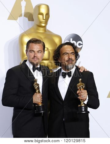 LOS ANGELES - FEB 28:  Leonardo DiCpario, Alejandro Gonzalez Inarritu at the 88th Annual Academy Awards - Press Room at the Dolby Theater on February 28, 2016 in Los Angeles, CA