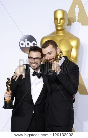 LOS ANGELES - FEB 28:  Jimmy Napes, Sam Smith at the 88th Annual Academy Awards - Press Room at the Dolby Theater on February 28, 2016 in Los Angeles, CA