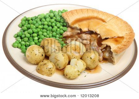 Chicken pie with new potatoes, peas and gravy.