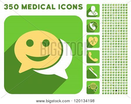 Happy Chat Icon and Medical Longshadow Icon Set